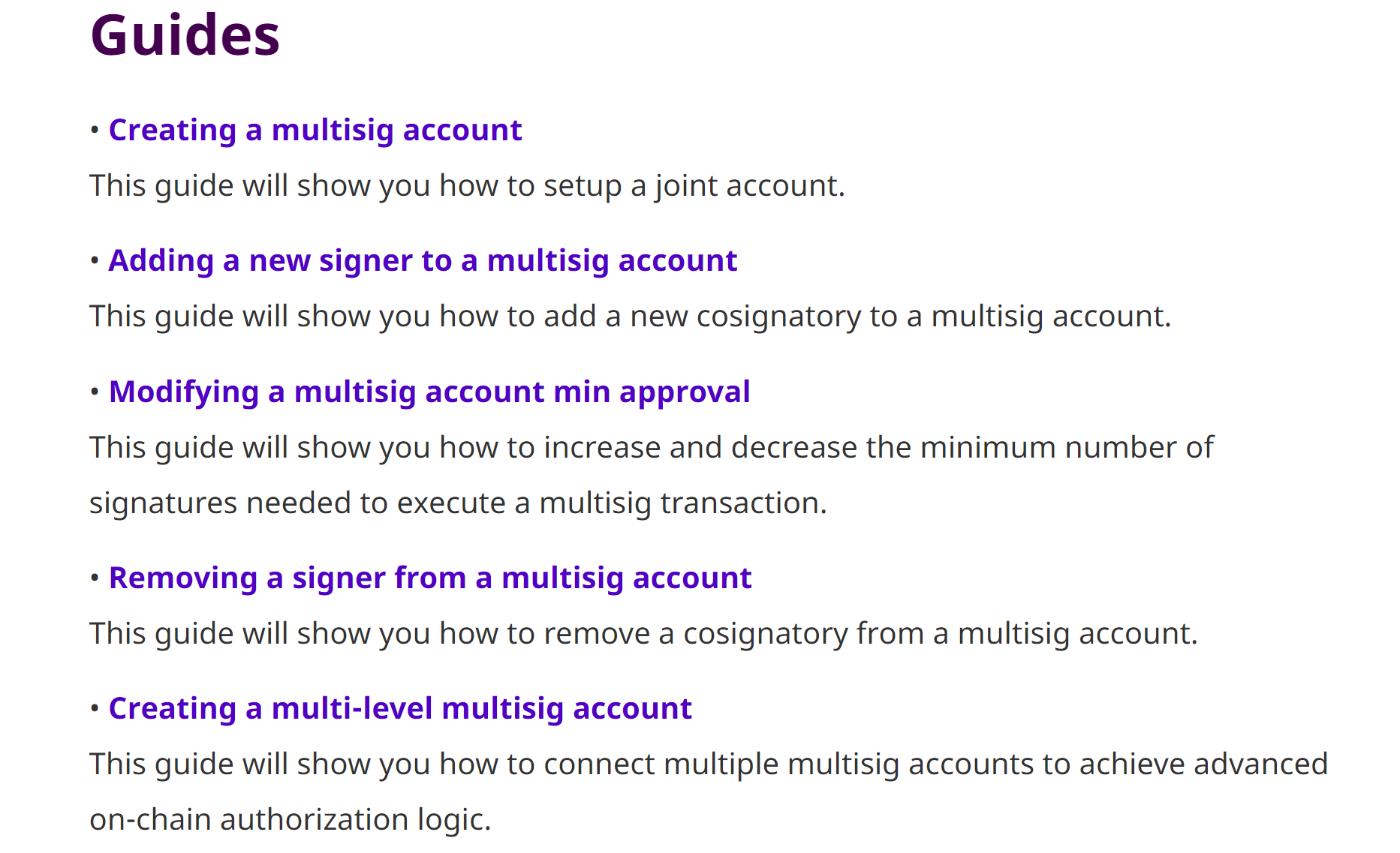 Guides for managing multisig accounts